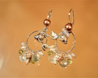 Seaside Gemstone Prehnite Peridot Cluster Shells Pearls Floating Fish Sterling Earrings