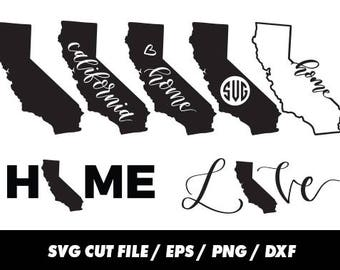 California SVG, States, United States svg, USA svg, California monogram frame silhouette svg eps png dxf Cut Print Mug Shirt Decal