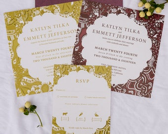elegant gold and burgundy shimmer wedding invitation suite