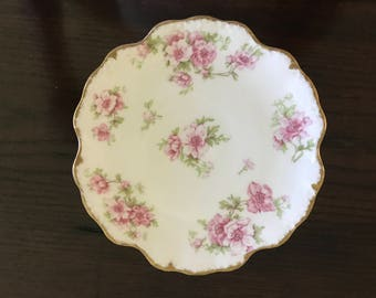 "Limoge White and Pink Floral 7"" dish"