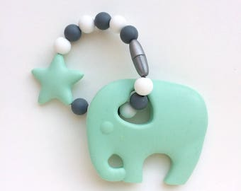 Mint Elephant Silicone Teether