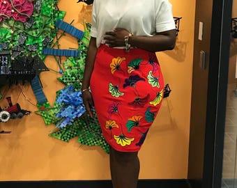African applique ntoma skirt - African wax print applique details (Ntoma/ Ankara)