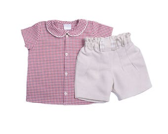 Set baby boy was bermuda shirt linen cotton