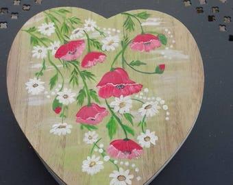 """Wildflowers"" heart shaped wooden jewelry box"