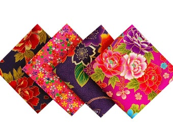 Set Japanese fabric - Lot fabric flowers - Pink Purple fabric - 4 Coupon 24x25cm CP40