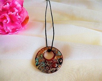55 mm on red background Murano millefiori donut pendant necklace
