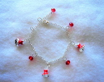 Bracelet silver chain small pendants dresses enameled red and Red Crystal beads