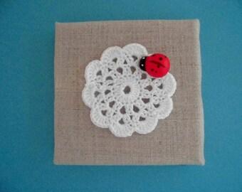 Wall decor, wall frame, home decor, gift idea, crochet doily, linen, wooden frame, wooden Ladybug