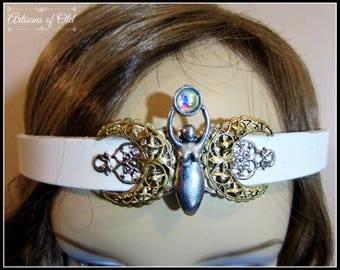 Triple Goddess Headband, White Leather Headpiece, Antique Gold Crescent,