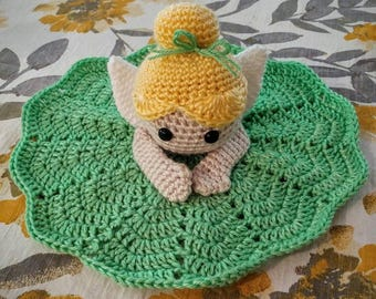 Tinkerbell lovey, security blanket, crochet doll, lovey, disney lovey, Tinkerbell security blanket