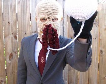 Crochet Ood hat, Ood costume, Dr. Who costume, Ood ski mask, Ood, Dr. Who gift, Dr. who hat, Balaclava, ood mask, dr who mask