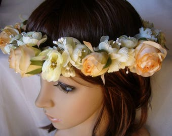 Crown headband with peach fabric roses