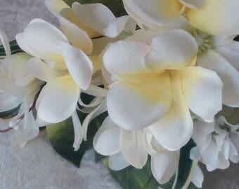 White, ivory yellow plumerias bridal bouquet