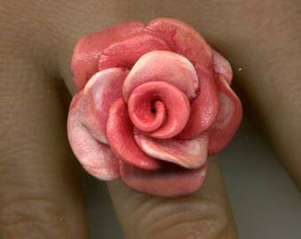 -30% - adjustable gold ring with cabochon handcrafted 'ROSE' - UNIQUE Piece-