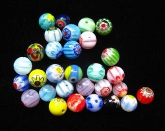 Set of 30 beads millefiori round drilled 5mm diameter
