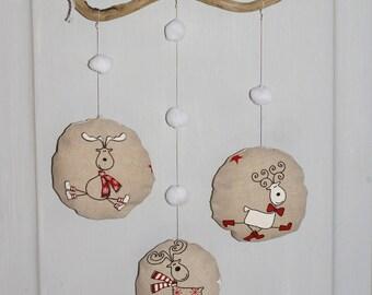 Christmas decoration driftwood, reindeer, snowflakes