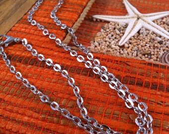 oval chain 46 cm silver grey, lobster clasp 5 necklaces