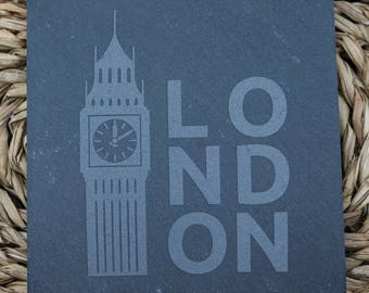 Engraved Coasters - Natural Slate - DESIGN: LONDON - Set of 4 - FREE Shipping