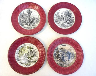 Earthenware of Sarreguemines and Digoin dessert plate. Rural scene of children over the months of the year. Month of May.