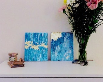 Selenite Dust and Gold Leaf Abstract Paintings