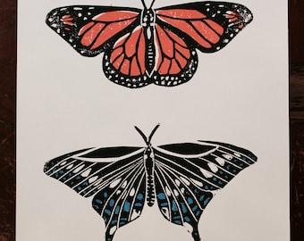 Butterfly Linocut Print 9x7.5 Handprinted