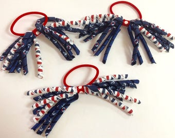 Toddler Girl Korker Ribbon Hair tie, Hairbows, Ponytail Holder, Ribbon Hair Accessory - Red White & Blue Sailor