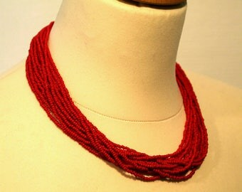"Choker ""George"" red seed beads"