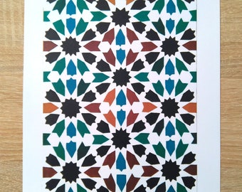 Printed sheet with the Alhambra tile n ° 4