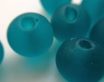 10 / teal lampwork beads lot 10 round green glass artisan murano frosted transparent 10mm