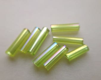 8. LOT ~ 1100 TUBE 7mm IRIDESCENT CELADON green glass seed beads