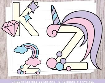 Unicorn Alphabet | Unicorn Letters | Unicorn SVG | Unicorn Clipart | Alphabet Letters | Alphabet SVG | Unicorn Birthday | Unicorn Party