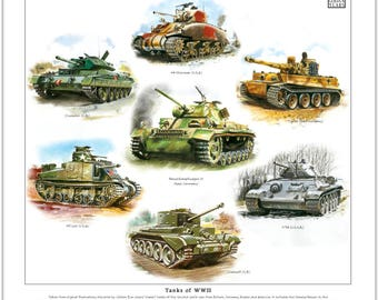 Tanks of WWII - Fine Art Print (Cromwell Crusader T-34 M3-Lee Tiger Panzer III)