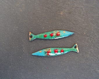 brass charms enameled (hot) fish, blue, green, red, gold