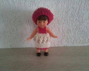 Dress and bonnet for mini doll