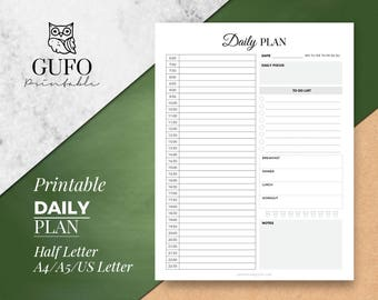 Hourly Planner Printable: Daily Plan - A5/A4/Letter Size/Half Letter/Planner Inserts, Day Organiser, Kikki K Large, Instant Download