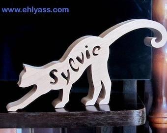 Sculpture wood Cat 3 customizable name (fretwork)