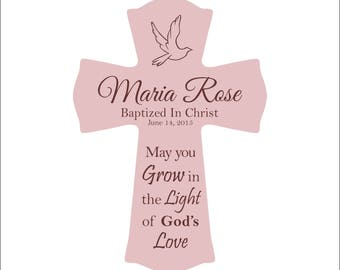 """Baptism Cross, Confirmation Cross, Personalized Hanging Cross, """"May God bless you with heavenly gifts of faith and hope and love..."""""""