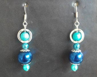 Earrings turquoise blue and bright blue
