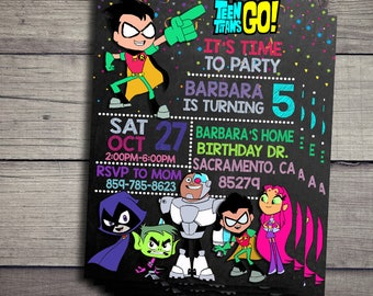 Teen Titans Go Invitation, Teen Titans Go Birthday Invidation, Teen Titans Go Birthday Party Invite, Teen Titans Go Printable File