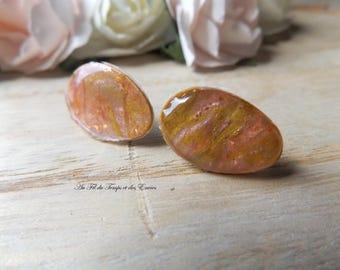 Earrings puce drop copper pink