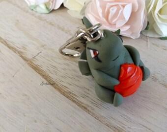 Larvitar/Embrylex cute Keychain, pokemon number: 246