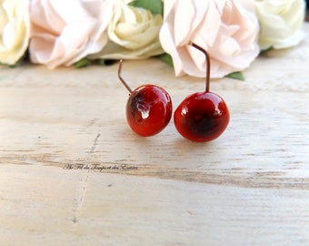 Earrings puce mini Cherry shape 2