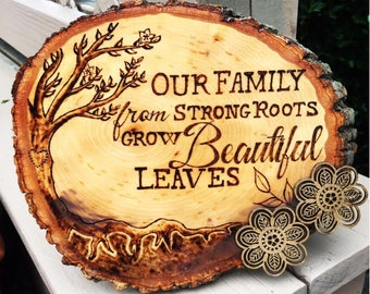 Wood Burned Family Tree Quote