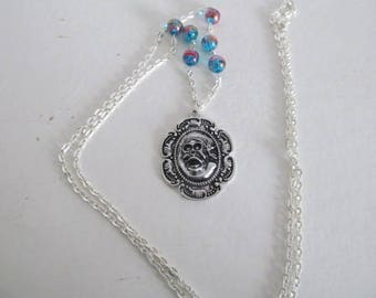 Blue skull and Bead Necklace
