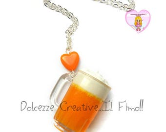 Necklace with mug of beer and orange heart - girl gift