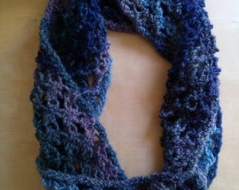 crocheted snood neck warmer for soft woman