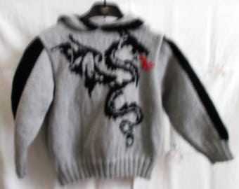 grey and black hooded pullover with dragon