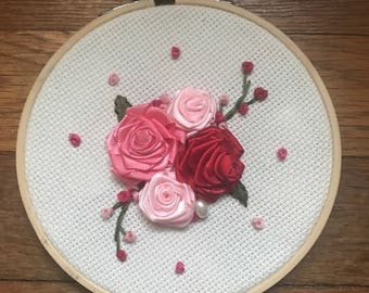 Pink rose ribbon embroidery