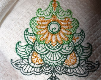 Large tea towel-embroidered cotton tote