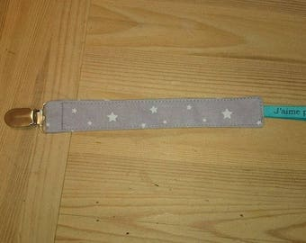 """Gray pacifier clip has white ribbon stars """"I love you Dad"""""""